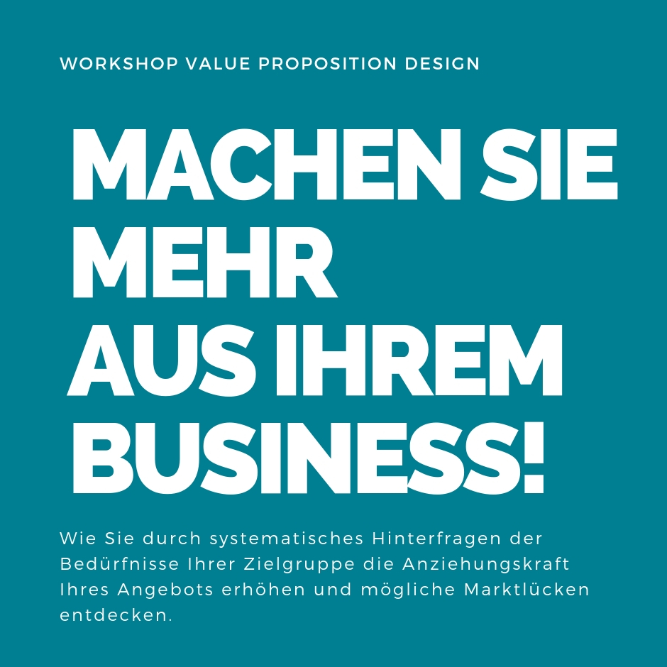 Einladung zum Workshop Value Proposition Design