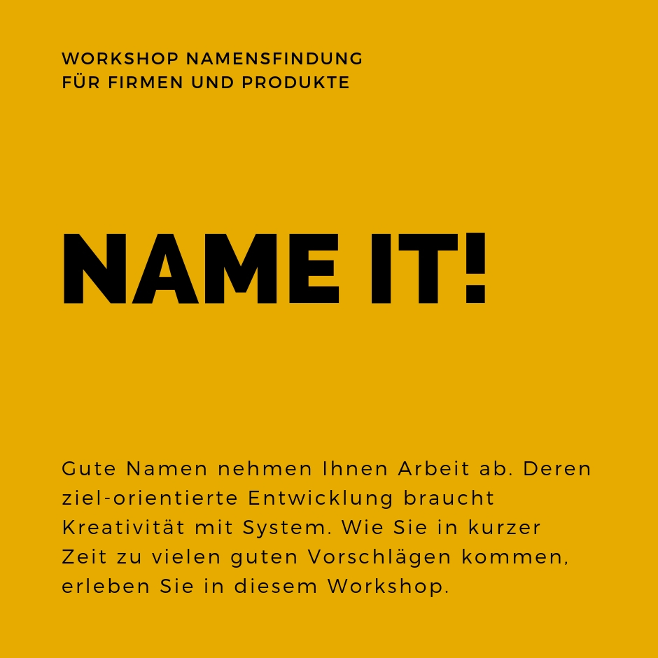 Name it _Workshop Namensfindung für Produkte