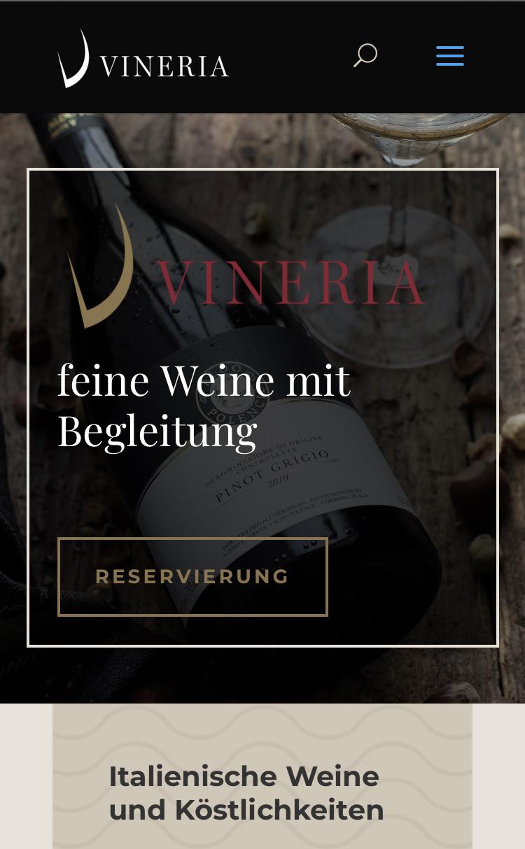 screenshot der website vineria getextet von der guten agentur